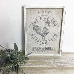 Other - Distressed Farm Rooster Egg Wall Art